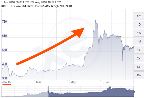 Bitcoin rise from Jan to Aug 2016