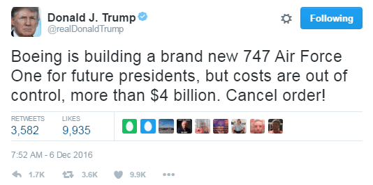 Trumps comment about Boeing